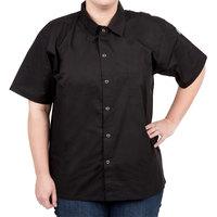 Chef Revival CS006BK-L Size 44-46 (L) Black Customizable Short Sleeve Cook Shirt - Poly-Cotton Blend