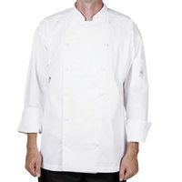Mercer M62030WH2X Renaissance Men's 52 inch XXL White Double Breasted Traditional Neck Chef Jacket