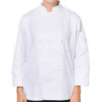 Mercer M62060WH1X Renaissance Women's 41 inch XL White Double Breasted Traditional Neck Chef Jacket