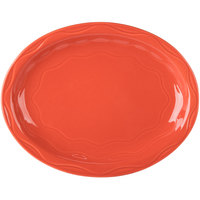 Syracuse China 903034615 Cantina 9 5/8 inch Cayenne Carved Porcelain Oval Platter   - 12/Case