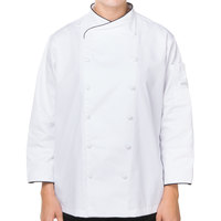 Mercer M62050WB3X Renaissance Women's 49 inch XXXL White Double Breasted Scoop Neck Chef Jacket with Black Piping
