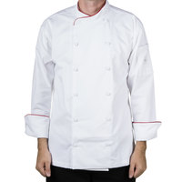 Mercer M62015WRM Renaissance Men's 40 inch Medium White Double Breasted Scoop Neck Jacket With Red Piping