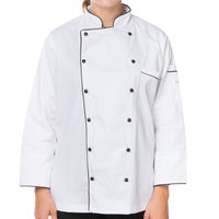 Mercer M62095WBL Renaissance Women's 38 inch L White Double Breasted Traditional Neck Chef Jacket with Full Black Piping