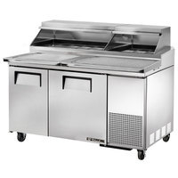 True TPP-60 60 inch Refrigerated Pizza Prep Table with Topping Catcher and Telescoping Hood
