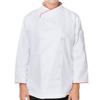 Mercer M62045WR1X Renaissance Women's 41 inch XL White Double Breasted Scoop Neck Chef Jacket with Red Piping