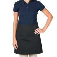 38 inch x 34 inch Black Poly-Cotton Four Way Waist Apron