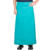 38 inch x 33 1/2 inch Teal Two Pocket Poly-Cotton Bistro Apron