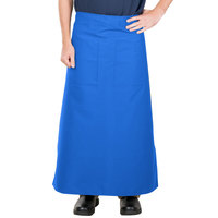 38 inch x 33 1/2 inch Blue Two Pocket Poly-Cotton Bistro Apron