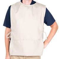 29 inch x 17 1/2 inch Ivory Poly-Cotton Cobbler Apron with Two Pockets