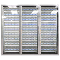 Styleline ML3075-NT MOD//Line 30 inch x 75 inch Modular Walk-In Cooler Merchandiser Door with Shelving - Bright Silver Smooth, Left Hinge - 3/Set