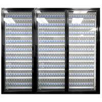 Styleline ML3075-NT MOD//Line 30 inch x 75 inch Modular Walk-In Cooler Merchandiser Door with Shelving - Satin Black Smooth, Right Hinge - 3/Set