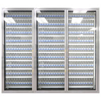 Styleline ML3079-NT MOD//Line 30 inch x 79 inch Modular Walk-In Cooler Merchandiser Door with Shelving - Bright Silver Smooth, Right Hinge - 3/Set