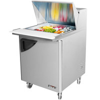 Turbo Air TST-28SD-12 28 inch Super Deluxe SS Single Door Mega Top Refrigerated Salad / Sandwich Prep Table with Deluxe Shelving