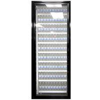 Styleline ML2475-LT MOD//Line 24 inch x 75 inch Modular Walk-In Freezer Merchandiser Door with Shelving - Satin Black Smooth, Left Hinge