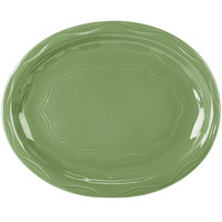 Syracuse China 903035008 Cantina 11 5/8 inch x 9 1/4 inch Sage Carved Oval Porcelain Platter   - 12/Case