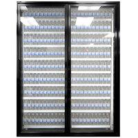 Styleline ML2475-LT MOD//Line 24 inch x 75 inch Modular Walk-In Freezer Merchandiser Doors with Shelving - Satin Black Smooth, Right Hinge - 2/Set