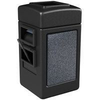 Commercial Zone 755113 28 Gallon Islander Series Black Harbor 1 Stonetec Waste Container with Towel Dispenser and Windshield Wash Station