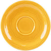 Syracuse China 903033201 Cantina 6 1/4 inch Saffron Carved Porcelain Saucer - 12/Case
