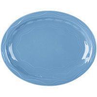 Syracuse China 903032615 Cantina 9 5/8 inch x 7 5/8 inch Blueberry Carved Oval Porcelain Platter - 12/Case