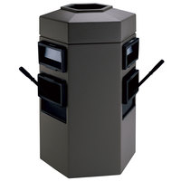 Commercial Zone 755424 35 Gallon Islander Series Gray Bermuda 2 Hexagonal Waste Container with 2 Paper Towel Dispensers and 2 Windshield Wash Stations