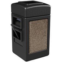 Commercial Zone 755152 28 Gallon Islander Series Black Harbor 1 Stonetec Waste Container with Towel Dispenser and Windshield Wash Station