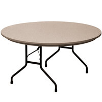Correll RX60R 60 inch Round Mocha Granite Plastic Tamper-Resistant Folding Table