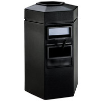Commercial Zone 755301 45 Gallon Islander Series Black Bermuda 1 Hexagonal Waste Container with Paper Towel Dispenser and Windshield Wash Station