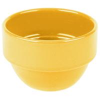Syracuse China 903044370 Cantina 8 oz. Saffron Uncarved Stackable Porcelain Bouillon - 36/Case