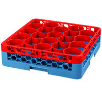 Carlisle RW20-C410 OptiClean NeWave 20 Compartment Color-Coded Glass Rack with 1 Red Extender