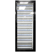Styleline ML3075-LT MOD//Line 30 inch x 75 inch Modular Walk-In Freezer Merchandiser Door with Shelving - Satin Black Smooth, Right Hinge