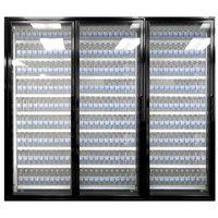 Styleline ML3075-LT MOD//Line 30 inch x 75 inch Modular Walk-In Freezer Merchandiser Doors with Shelving - Satin Black Smooth, Left Hinge - 3/Set