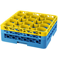 Carlisle RW20-1C411 OptiClean NeWave 20 Compartment Yellow Color-Coded Glass Rack with 2 Extenders