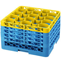 Carlisle RW20-4C411 OptiClean NeWave 20 Compartment Yellow Color-Coded Glass Rack with 5 Extenders
