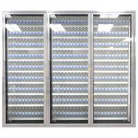 Styleline ML3079-LT MOD//Line 30 inch x 79 inch Modular Walk-In Freezer Merchandiser Doors with Shelving - Bright Silver Smooth, Right Hinge - 3/Set