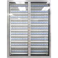Styleline ML3075-LT MOD//Line 30 inch x 75 inch Modular Walk-In Freezer Merchandiser Doors with Shelving - Bright Silver Smooth, Left Hinge - 2/Set
