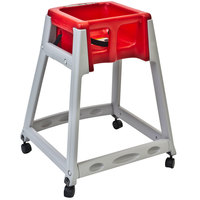 Koala Kare KB877-03W KidSitter Grey Convertible Plastic High Chair with Red Seat and Casters