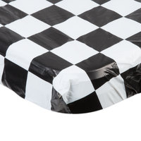 Creative Converting 37397 Stay Put 30 inch x 96 inch Black Check Plastic Table Cover - 12/Case