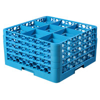Carlisle RG9-414 OptiClean 9 Compartment Blue Glass Rack with 4 Extenders