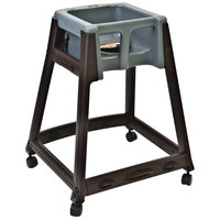 Koala Kare KB866-01W KidSitter Brown Convertible Plastic High Chair with Grey Seat and Casters