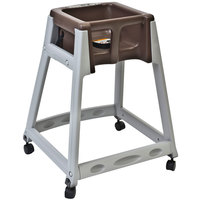 Koala Kare KB877-09W KidSitter Grey Convertible Plastic High Chair with Brown Seat and Casters