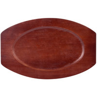8 3/4 inch x 13 3/4 inch Mahogany Oval Wood Sizzler Platter Underliner
