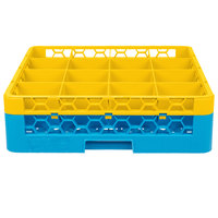 Carlisle RG16-1C411 OptiClean 16 Compartment Yellow Color-Coded Glass Rack with 1 Extender