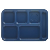 Cambro PS1014186 Penny-Saver 10 inch x 14 1/2 inch Navy Blue 6 Compartment Serving Tray - 24/Case