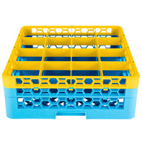 Carlisle RG16-2C411 OptiClean 16 Compartment Yellow Color-Coded Glass Rack with 2 Extenders