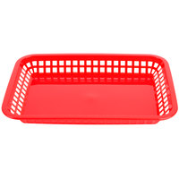 Tablecraft 1079R Mas Grande 11 3/4 inch x 8 1/2 inch x 1 1/2 inch Red Rectangular Polypropylene Fast Food Basket - 12/Pack
