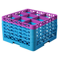 Carlisle RG9-5C414 OptiClean 9 Compartment Lavender Color-Coded Glass Rack with 5 Extenders