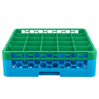 Carlisle RG25-1C413 OptiClean 25 Compartment Green Color-Coded Glass Rack with 1 Extender