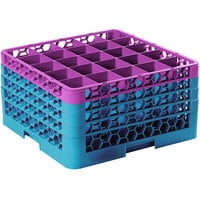 Carlisle RG25-4C414 OptiClean 25 Compartment Lavender Color-Coded Glass Rack with 4 Extenders
