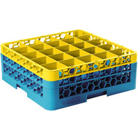 Carlisle RG25-2C411 OptiClean 25 Compartment Yellow Color-Coded Glass Rack with 2 Extenders