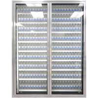 Styleline CL3072-2020 20//20 Plus 30 inch x 72 inch Walk-In Cooler Merchandiser Doors with Shelving - Anodized Satin Silver, Left Hinge - 2/Set